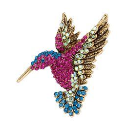 Broches de corea online-Broche de colibrí de diamantes de imitación de colores Broches para mujeres Accesorios de moda de Corea Venta directa al por mayor de fábrica # 274881