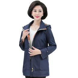 Фиолетовое весеннее пальто онлайн-Британский Стиль Женщина Повседневная Пальто Фиолетовый Темно-Синий Пальто Duster Пальто Женщин Пальто С Капюшоном Autumb Весенние Траншеи Верхняя Одежда Леди