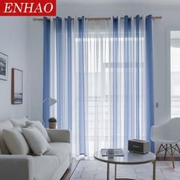 2018 Blaue Vorhänge Für Schlafzimmer ENHAO Einfachheit Striped Moderne Tüll Vorhänge  Für Wohnzimmer Schlafzimmer Küche Leinen
