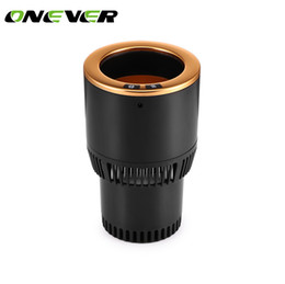 Wholesale 12v Coffee - Onever DC 12V 2 in 1 Car Cup Cooler Heater Cooling Heating Cup Holder Temperature for Drinks Coffee Beverage Cans