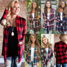 Wholesale Wholesale Jacket Buttons - 6 Color Women Plaid Cardigan Long Sleeve Coat T-SHIR TLattice Loose Plaid Loose Blouses Button Large Size S-2XL Cardigan Jacket FFA205 50pcs