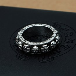 Wholesale Sterling Silver Skull Rings - Brand new 925 sterling silver fashion jewelry vintage style ring ch skull design for men new year gift free shipping with gift box wholesale