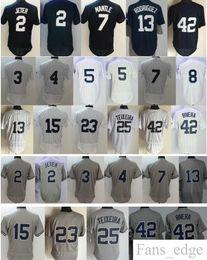 Camisetas de bebé ruth online-Béisbol # 2 Derek Jeter 3 Babe Ruth 4 Lou Gehrig 5 Joe DiMaggio 7 Mickey Mantle Yogi Berra 13 Alex Rodriguez Jersey cosido