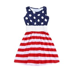 Wholesale 3t Holiday Dresses - Toddler Girls Vest Dresses Lace Elastic Ruffle American Navy Dots Red Striped Independence Day 4th of July Summer Holiday Beach Skirt Outfit