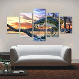 Wholesale Wall Paint Fish - Oil Painting On Canvas Giant Fish Unframed Wall Decor Art Spray Printed Oil Painting Pintura Christmas Gifts Home Decoration