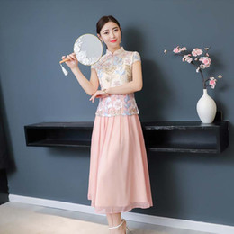 2018 New Summer Long Dress female Flower embroidery cheongsam lace chinese  traditional dress women qipao for wedding party a0d40081048f