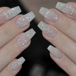 Klare nägel acryl-box online-100PCS / Box Ballerina Nails Acryl Falsche Nägel Full Cover Natur / Weiß / Klar Sarg Nagel Tipps Künstliche Französisch Gefälschte Nagelspitzen