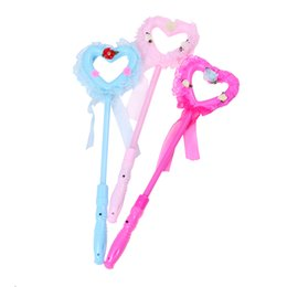 Wholesale plastic heart lights up - New 1PCS Lovely Magic Party Xmas Halloween LED Heart Sticks Flashing Lights up Glow Sticks For Kids Toy Novelty Gift
