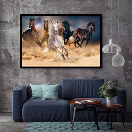 Wholesale Wall Decor Art Canvas Horses - BANMU HD Printed Canvas Art Animal Horses Decorative Wall Art Picture Home Decor Modular Paintings For Living Room