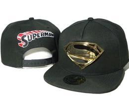 Superman chapéu preto on-line-Homens bonés dos desenhos animados preto superman metal S snapback chapéus Caráter super homem marvel heróis snapbacks caps bonés de bola ao ar livre