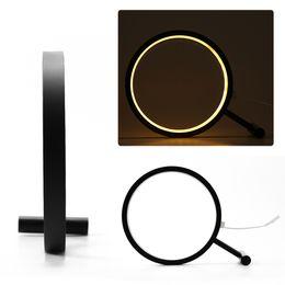Wholesale art deco shapes - Acrylic Round Modern Creative Art Deco Table Lamp Metal Ring Desktop Bedroom Bedside Lighting LED Magnifier Shaped Lamp