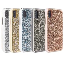 Wholesale Iphone Covers Rhinestones - For Iphone X Case Luxury Glitter Bling Rhinestone Diamond Case 2in1 Electroplate TPU Hard PC Back Cover for Iphone X