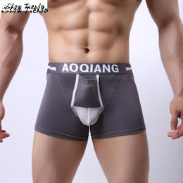 Wholesale Red Bulge - Sexy Boxers Men Breathable Cotton ConvenientPocket Bulge Pouch Shorts Underpants Men Underwear #2415
