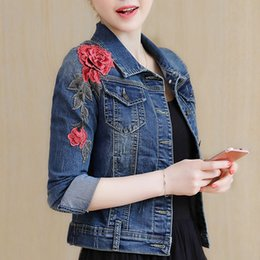 Wholesale New Arrival Girl S Long - New Arrival Embroidery Basic Coats Autumn Winter Women Denim Jacket Floral Long Sleeve Female Jeans Coat Casual Skinny Girls Jackets