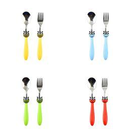 Set di forchetta del cucchiaio del fumetto online-Cucchiaio forchetta in acciaio inox Set da viaggio Vasellame da tavola portatile Coccinella per bambini Set da tavola multi colore 4 51yy C R