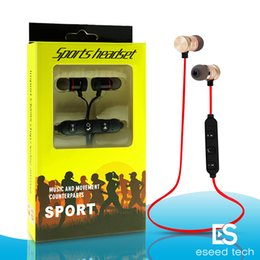 Wholesale sport mp3 headphone bluetooth - M5 Bluetooth Headphones magnetic metal wireless Running Sport Earphones Earset With Mic MP3 Earbud BT 4.1 For iphone Samsung LG Smartphone