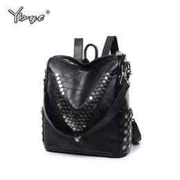 Remaches roscados online-YBYT marca 2018 nuevo cuero de LA PU hilo de remache mujeres paquete de alta calidad bolsa mochila casual diseñador bolsa de viaje de las señoras mochila