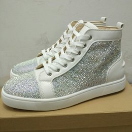 Wholesale denim canvas shoes boy - Red bottoms designer brands fashion sneakers mens casusal shoes women leisure shoes luxury rhinestons strass flats boy girls dress shoes