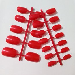 Dedo da senhora vermelha on-line-Moda Plástico Oval Unhas Postiças Hot Red Unhas Postiças Curtas Pontas Das Unhas Para Senhora Dedo Salão de Unhas Acessórios 24 Pcs