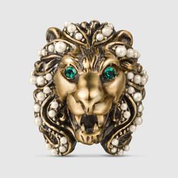 Anéis barrocos on-line-Novo Barroco Multi Pérola anéis de cabeça de leo para as mulheres da moda jóias do punk do vintage de Cristal animal anéis acessórios do partido