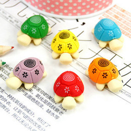 stationery rubber set Coupons - 2 Pcs set!! Random Color! Cute Tortoise Eraser Rubber Stationery Kids Gift Correction Erasers School Supplies Students Eraser