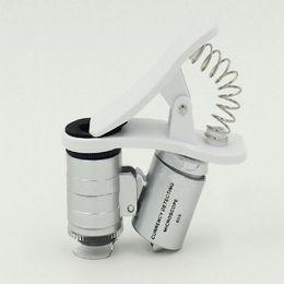 Micro zoom on-line-Etmakit 1 Pcs Universal 3 LEDs Clipe Telescópio Microscópio Do Telefone Móvel Micro Lente 60X Zoom óptico Lente Da Câmera Do Telescópio