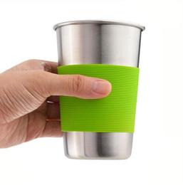 12oz Café tasse à thé en acier inoxydable Tumbler bouteille d'eau anti-dérapant tasse lait potable tasse avec couvercle de caisse en silicone ? partir de fabricateur