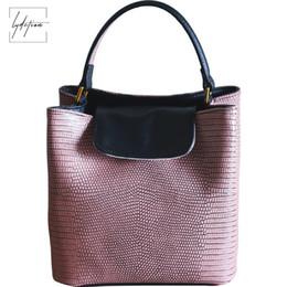 26f986c43e6e Lydztion Europe Original Lizard Pattern Leather Bucket Bag Lady Summer New  Cool Casual Handbag Black Hot Shoulder Messenger Bags