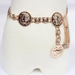 gürtel kettenrock Rabatt Arbeiten Sie Catwalk dekorativen wilden Rock Metallgürtel Kette Gürtel für Frauen Golden Münze Delphine Porträt Metall Taille Gürtel