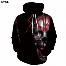 gold blood Coupons - KYKU 3d Skull Hoodies Men Sweatshirt Punk Blood 3d Print Hoodie Space Long Black Mens Clothing Anime Clothes Winter Streetwear