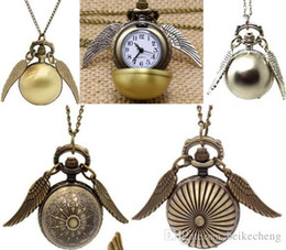 Wholesale Pendant Pocket Watch Necklace - Bronze Pocket Watch Antique Bronze Wing Ball Pendant Necklace Chain Fashion Jewelry