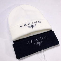 Wholesale Hat Cold - KERING Black White Winter Unisex Beanies Knit Warm Casual Cold Hat Knitted Fashion Men Women Couple Beanies Outdoor Sports HFLSMZ025