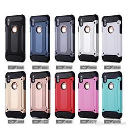 custodie protettive telefoniche zte Sconti Custodia Hybrid Armor per iPhone X 8 7 6 Plus Armatura in acciaio TPU PC Sansung S8 Note8 HUAWEI ZTE Protective Cove