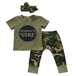 2019 camouflage hose für kinder 2018 neue Stil Baby Jungen Mädchen Brief Druck Set Kurzarm Brief T-shirts Camouflage Hosen Stirnband Neugeborenen Kinder rabatt camouflage hose für kinder