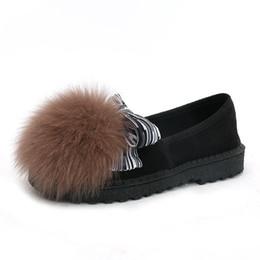 Argentina Moda mujer zapatos de tacón plano dulce Bowtie zapatos mocasines calientes de felpa interior nieve mujer Fox fur zapatos casuales cheap flat shoes fur inside Suministro