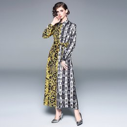 0854468b8006 Women Causal Print Maxi Dresses Contrast Color New Design Long Sleeve Slim  Trend Shirt Dress Tunic Dresses. Supplier: sinofashion