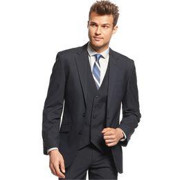 Mejores vestidos de novia simples online-Trajes de hombre Trajes de boda Negro con muesca solapa de negocio simple por encargo formal esmoquin Blazer Slim Fit 3Piece baile vestido de noche mejor hombre