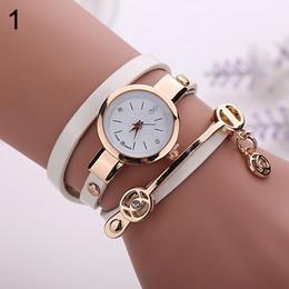 Wholesale Long Leather Watch Straps Women - 2015 Women Long Slim Faux Leather Strap Round Analog Crystal Dial Quartz Wrist Watch Gift Present 71EY