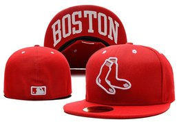 Wholesale Orange Team Names - Men's Red Sox red color city name under brim fitted hat flat Brim embroiered Team logo fans baseball Hats red sox full closed caps