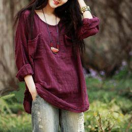 Wholesale white blouse long sleeve women - 2018 Mori girl Autumn Sprint Women Blouses Long sleeve O Neck Cotton Linen Women Shirts Green Yellow White and Purple red colors