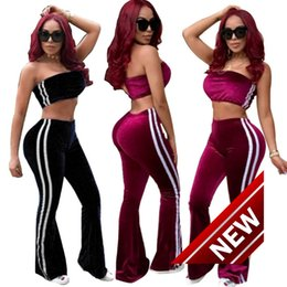 Wholesale Girls Velvet Tracksuits - 2018 Autumn New Product Women's Leisure Time Down Thickening Motion Suit women sports tracksuits jogging Girl Printed Top DRESSES