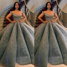 zuhair murad de hombro vestido de fiesta Rebajas Zuhair Murad 2019 Vestido de fiesta con encaje de plata Vestidos de novia con hombros descubiertos Vestido de novia con cuentas de Dubai Vestido de Novia