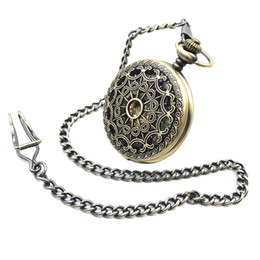 Wholesale Pocket Watch Hunter - Bronze Tone Painting Hollow Case Mens Hand Wind Roman Number Dial Mechanical Pocket Watch W Chain Half Hunter Watch FOB