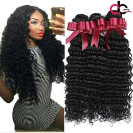 Wholesale Indian Remy Hair Weave Wholesale - 9A Brazilian Deep Wave Hair Bundles Unprocessed Brazilian Curly Remy Human Hair Weaves Natural Black Brazilian Virgin Hair Deep Wave