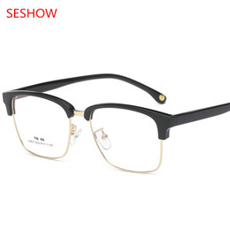 Wholesale clear plastic butterflies - New retro men's TR90 metal half-rimmed spectacle frame, eyebrow style flat glasses, ladies prescription spectacle frames