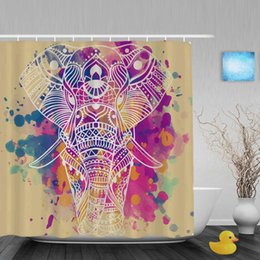 2020 lindas cortinas de baño Arte pintura elefante africano cortinas de ducha lindo animal decoración baño cortinas de baño poliéster tela impermeable con ganchos lindas cortinas de baño baratos