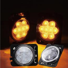 luz de tejadilho de emergência âmbar 12v Desconto LED Amber Amarelo Front Fender Lado Marker Light Assembly com lente clara para 2007 - 2017 Jeep Wrangler