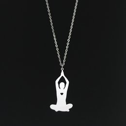 Wholesale Yoga Meditation Pendant - Yoga Pose Pendant Necklace Meditation Prayer mudra yoga Posture Exercise Stainless Steel Jewelry Silver New Arrival Wholesale