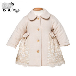 Jaqueta de algodão orgânico meninas on-line-Infant Baby Girl Winter Organic Cotton Long Sleeve Lace Jackets Toddler Tiny Baby Thick Padded Coats Snowsuit Outerwear Clothes