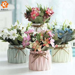 Wholesale Black Vase Decoration - Wholesale-Decorative Potted Plants Artificial Flowers With Vase For Home Office Wedding Decoration High Quality Silk Flower+Ceramic Vase